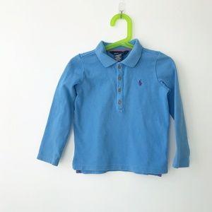 Ralph Lauren Blue Long Sleeve Polo Shirt Size 4T